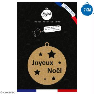 Suspension ronde Joyeux Noël en bois à décorer - 7 cm - Collection Noël