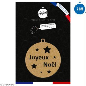 Suspension ronde Joyeux Noël en bois à décorer - 7 cm - Collection Noël