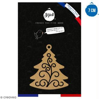 Suspension Sapin de Noël en bois à décorer - 7 cm - Collection Noël