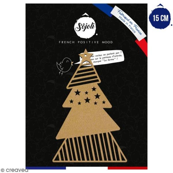 Sapin géométrique en bois à décorer - 15 cm - Collection Noël - Photo n°1