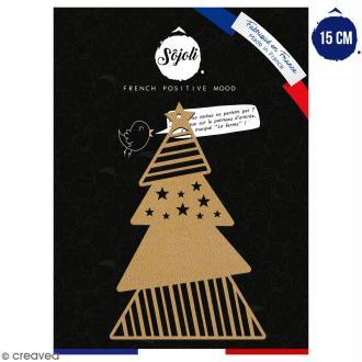 Sapin géométrique en bois à décorer - 15 cm - Collection Noël