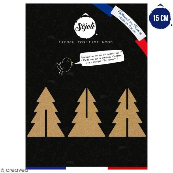 Sapin 3D en bois à décorer et à monter - 15 cm - Collection Noël - Photo n°1