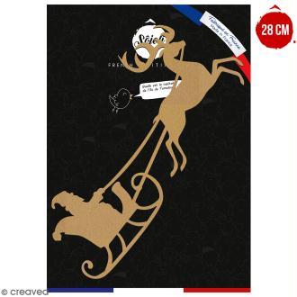 Traineau du Père Noël en bois à décorer - 28 cm - Collection Noël