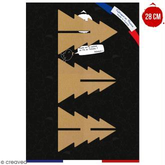 Sapin 3D en bois à décorer et à monter - 28 cm - Collection Noël - 3 pcs