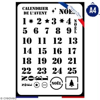 Pochoir multiusage A4 - Calendrier de l'avent - 1 planche - Collection Noël