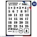 Pochoir multiusage A4 - Calendrier de l'avent - 1 planche - Collection Noël