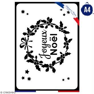 Pochoir multiusage A4 - Couronne Joyeux Noël - 1 planche - Collection Noël
