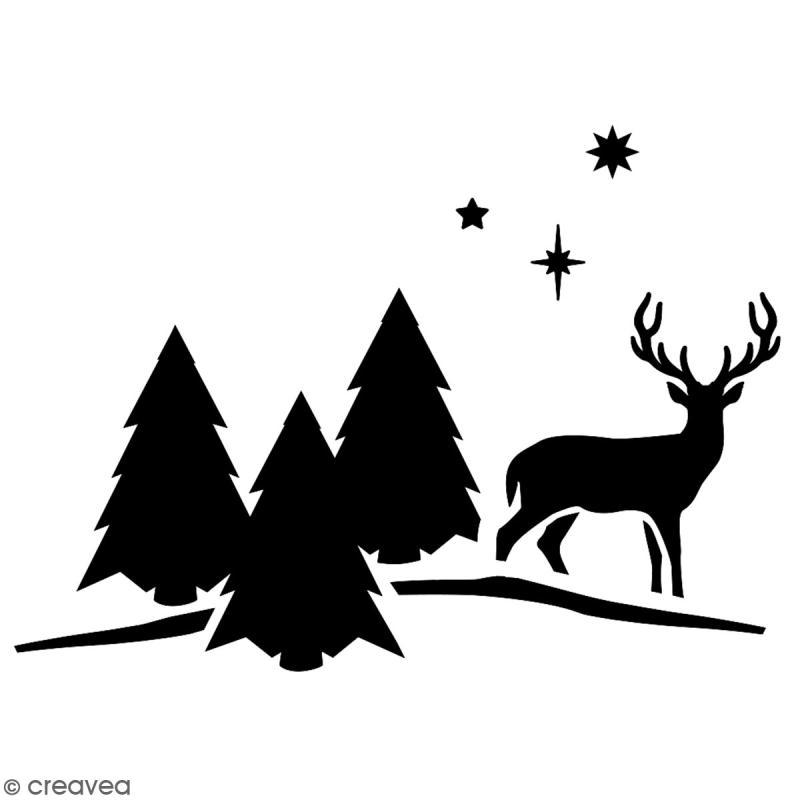 Pochoir multiusage A5 - Cerf  - 1 planche - Collection Noël - Photo n°2