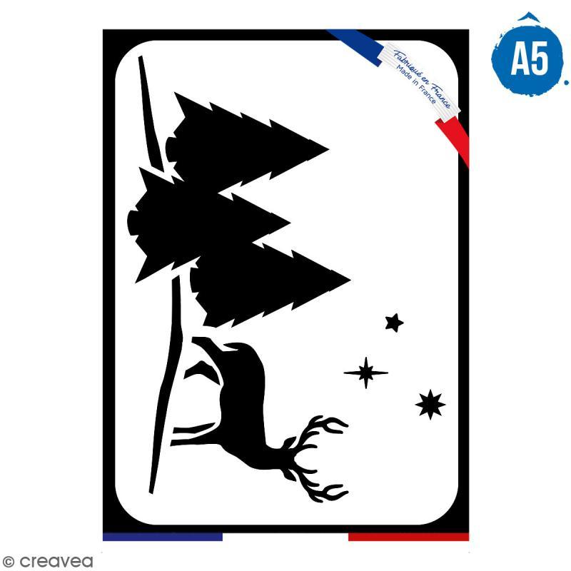 Pochoir multiusage A5 - Cerf  - 1 planche - Collection Noël - Photo n°1