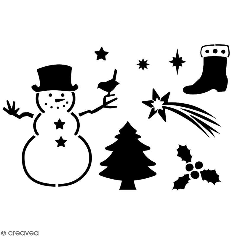 Pochoir multiusage A5 - Bonhomme de neige - 1 planche - Collection Noël - Photo n°2