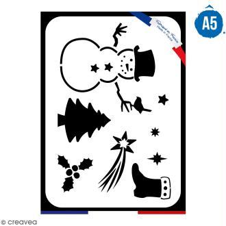 Pochoir multiusage A5 - Bonhomme de neige - 1 planche - Collection Noël