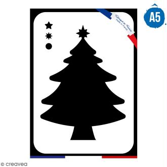 Pochoir multiusage A5 - Sapin de Noël - 1 planche - Collection Noël