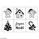 Planche de pochoirs multiusage A4 - Collection Noël - Noël pain d'épices - 6 Motifs - Photo n°2