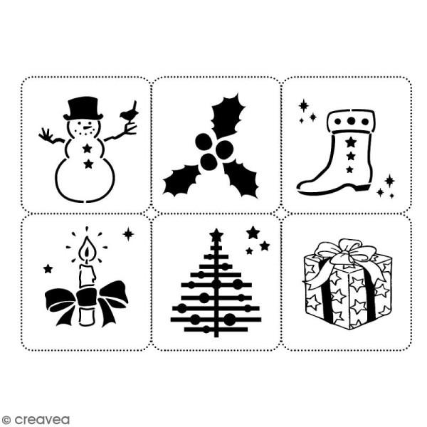 Planche de pochoirs multiusage A4 - Collection Noël - Noël - 6 Motifs - Photo n°2