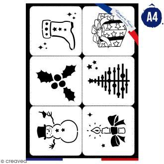 Planche de pochoirs multiusage A4 - Collection Noël - Noël - 6 Motifs