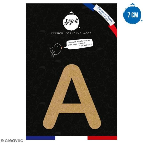 Lettre A en bois à décorer - 7 cm - Collection Alphabet arrondi - Photo n°1