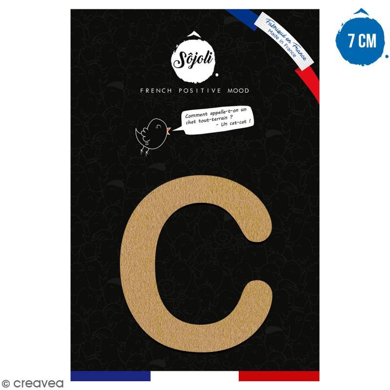 Lettre C en bois à décorer - 7 cm - Collection Alphabet arrondi - Photo n°1