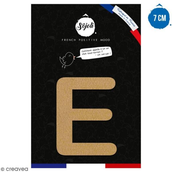 Lettre E en bois à décorer - 7 cm - Collection Alphabet arrondi - Photo n°1