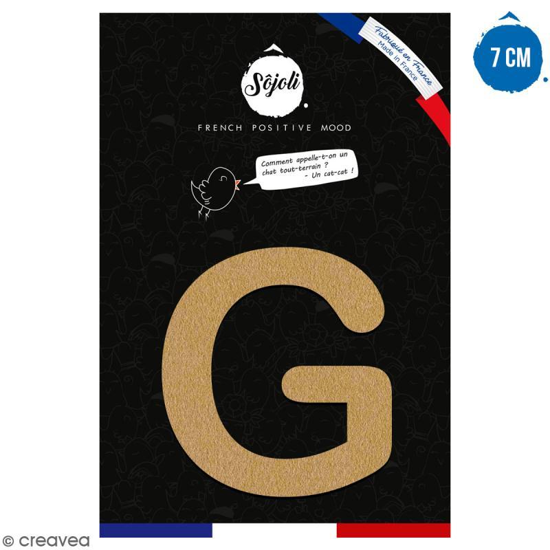 Lettre G en bois à décorer - 7 cm - Collection Alphabet arrondi - Photo n°1
