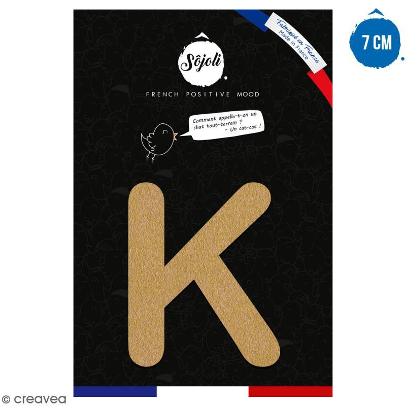 Lettre K en bois à décorer - 7 cm - Collection Alphabet arrondi - Photo n°1