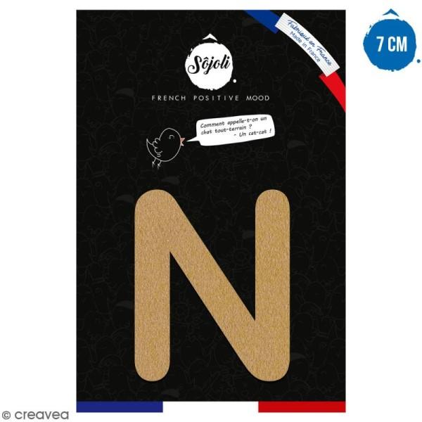 Lettre N en bois à décorer - 7 cm - Collection Alphabet arrondi - Photo n°1