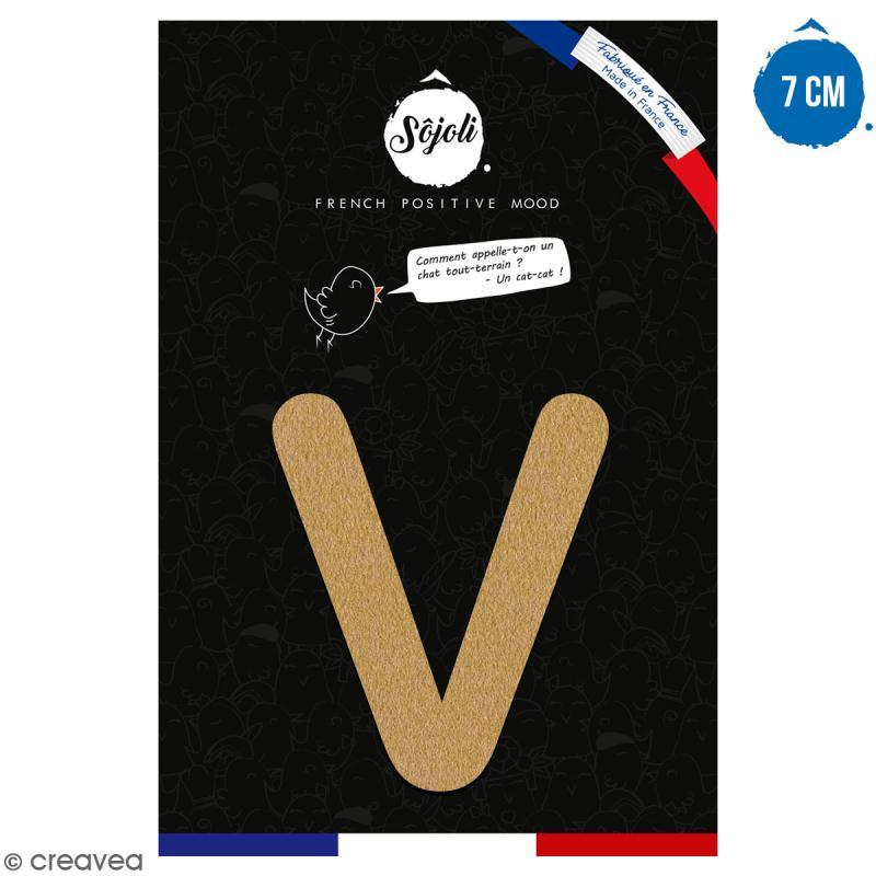Lettre V en bois à décorer - 7 cm - Collection Alphabet arrondi - Photo n°1