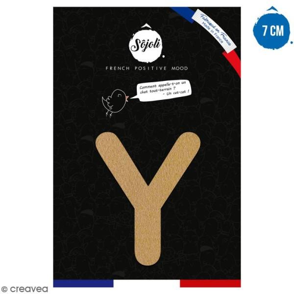 Lettre Y en bois à décorer - 7 cm - Collection Alphabet arrondi - Photo n°1