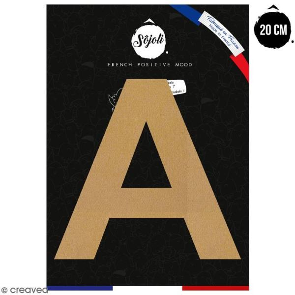 Lettre A en bois à décorer - 20 cm - Collection Alphabet sans serif - Photo n°1