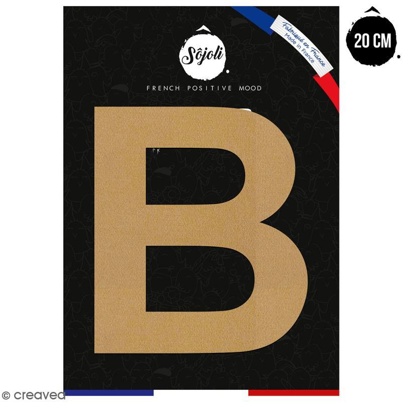 Lettre B en bois à décorer - 20 cm - Collection Alphabet sans serif - Photo n°1
