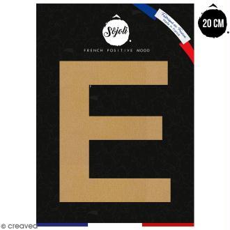 Lettre E en bois à décorer - 20 cm - Collection Alphabet sans serif