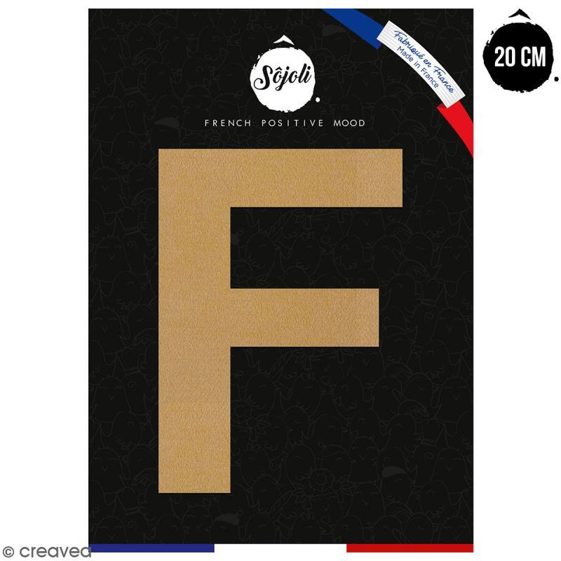 Lettre F en bois à décorer - 20 cm - Collection Alphabet sans serif - Photo n°1