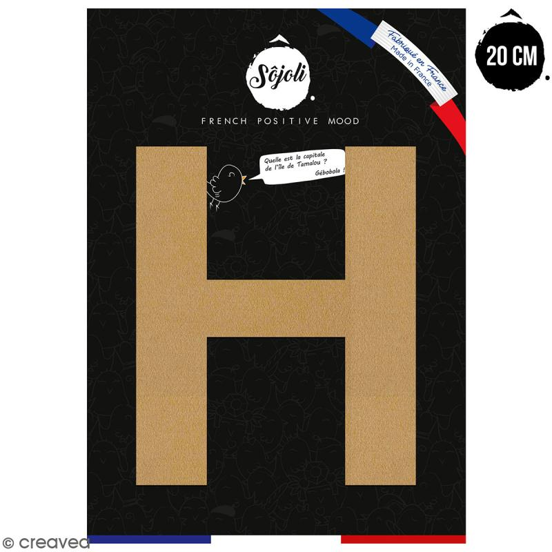 Lettre H en bois à décorer - 20 cm - Collection Alphabet sans serif - Photo n°1
