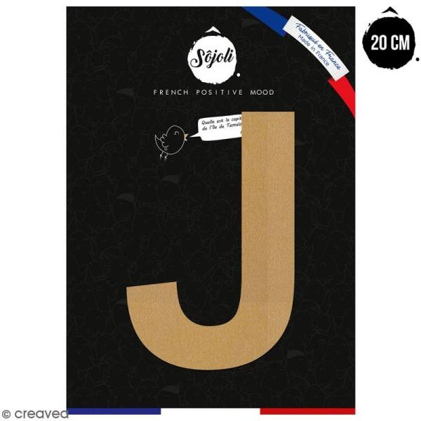Lettre J en bois à décorer - 20 cm - Collection Alphabet sans serif - Photo n°1