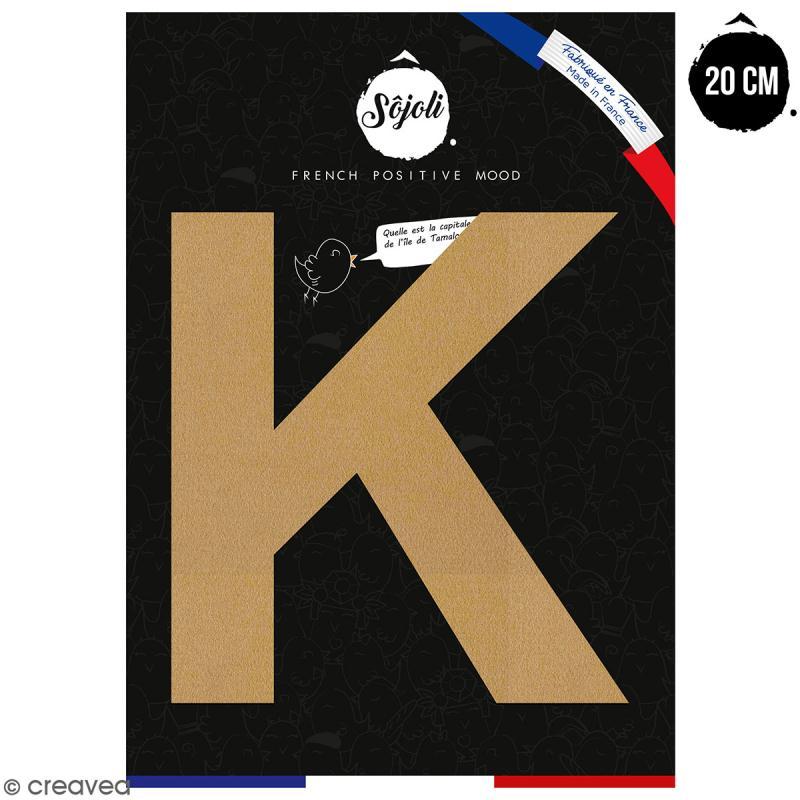 Lettre K en bois à décorer - 20 cm - Collection Alphabet sans serif - Photo n°1