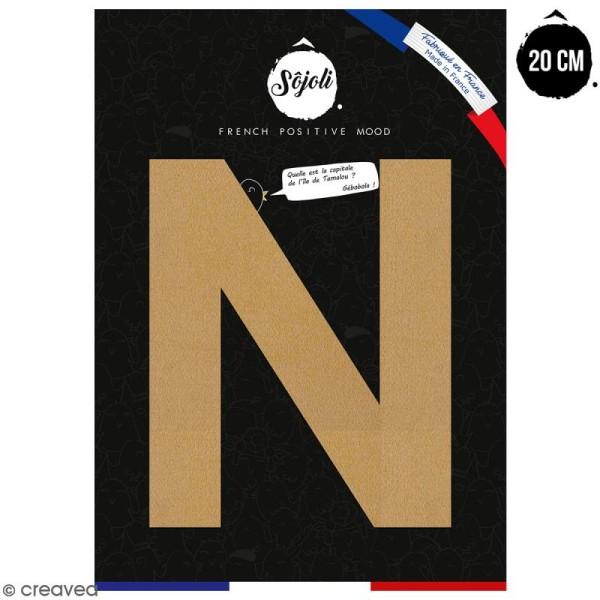 Lettre N en bois à décorer - 20 cm - Collection Alphabet sans serif - Photo n°1