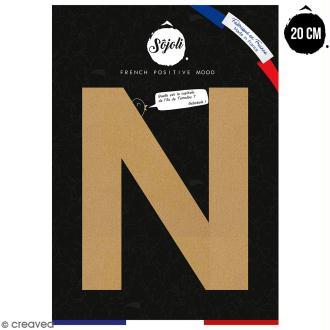 Lettre N en bois à décorer - 20 cm - Collection Alphabet sans serif
