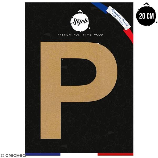 Lettre P en bois à décorer - 20 cm - Collection Alphabet sans serif - Photo n°1