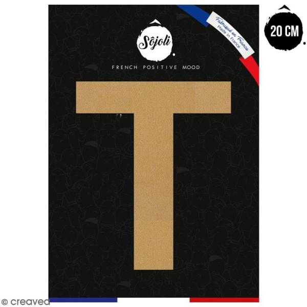 Lettre T en bois à décorer - 20 cm - Collection Alphabet sans serif - Photo n°1