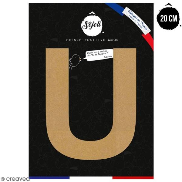 Lettre U en bois à décorer - 20 cm - Collection Alphabet sans serif - Photo n°1