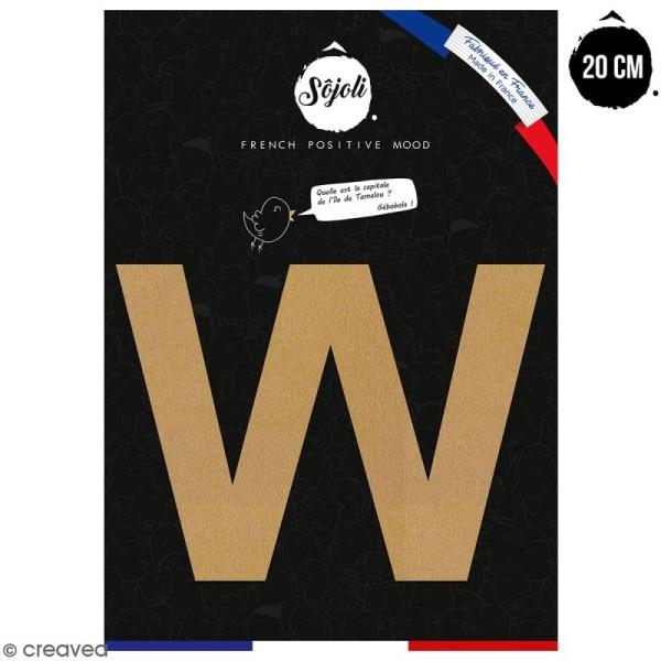 Lettre W en bois à décorer - 20 cm - Collection Alphabet sans serif - Photo n°1