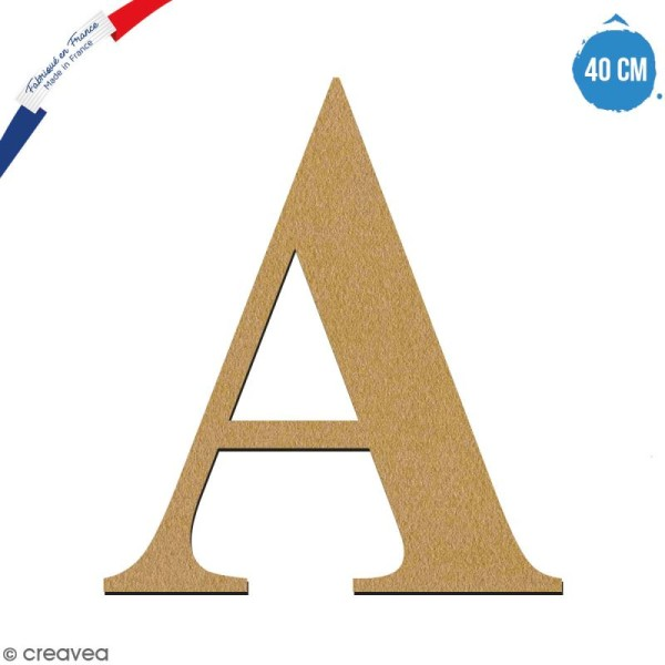 Lettre A en bois à décorer - 40 cm - Collection Alphabet serif - Photo n°1
