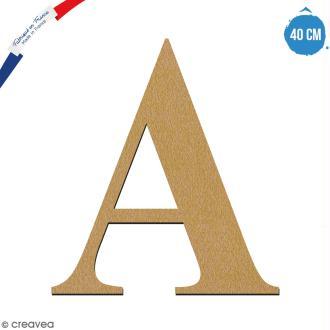Lettre A en bois à décorer - 40 cm - Collection Alphabet serif