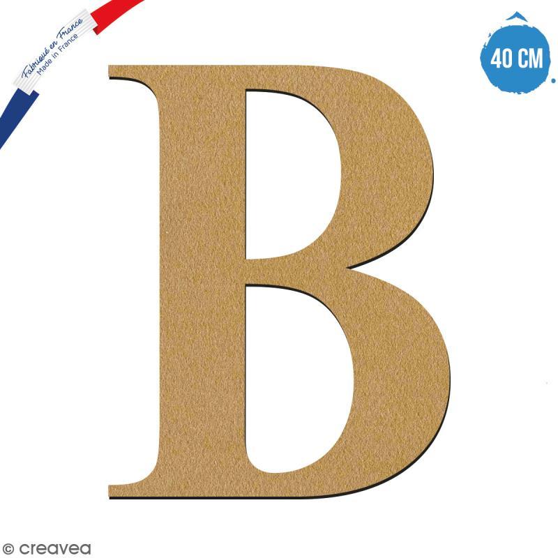 Lettre B en bois à décorer - 40 cm - Collection Alphabet serif - Photo n°1