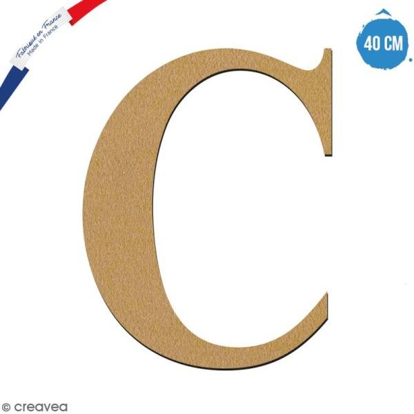 Lettre C en bois à décorer - 40 cm - Collection Alphabet serif - Photo n°1