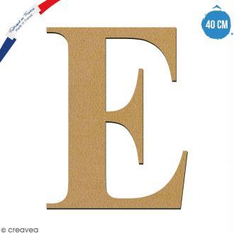 Lettre E en bois à décorer - 40 cm - Collection Alphabet serif