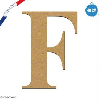 Lettre F en bois à décorer - 40 cm - Collection Alphabet serif