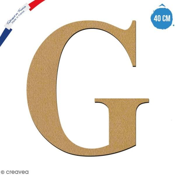 Lettre G en bois à décorer - 40 cm - Collection Alphabet serif - Photo n°1