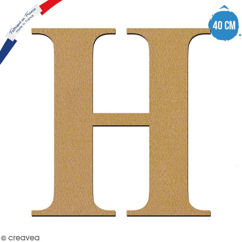 Lettre H en bois à décorer - 40 cm - Collection Alphabet serif - Photo n°1