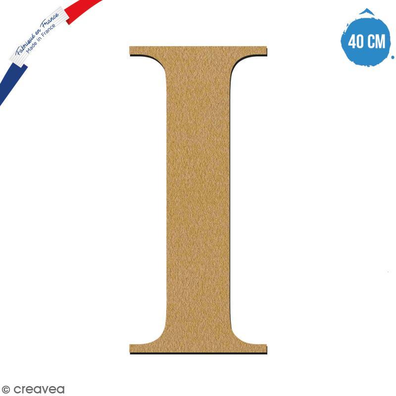 Lettre I en bois à décorer - 40 cm - Collection Alphabet serif - Photo n°1