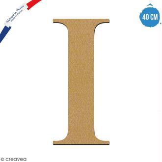 Lettre I en bois à décorer - 40 cm - Collection Alphabet serif
